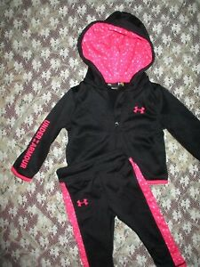 LKNW Black Pink Under Armour Jogging Suit Sweatpants Track Jacket Set 18 Month $17.10