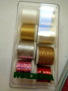 Madeira Thread 8 Spools NIB made in Germany Golds Silver Opal Pink and Red $21.50