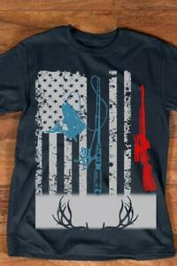 Fishing And Deer Hunting American Flag Tshirt Men Navy M 3XL