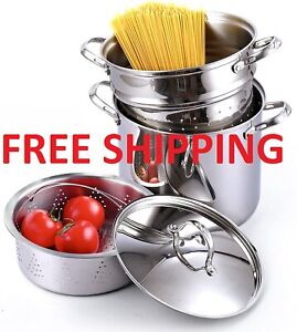 Premium Cookware Pasta Steamer MultiPot for Housewife 12 Quarts Stainless Steel $89.99