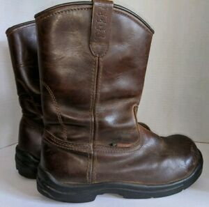 RedWing boots Men#x27;s Pecos Brown Leather Steel Toe Boots 2413 05 Size 9.5