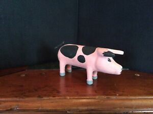 Vintage Wood Carved Pig Farm Animal Artist Signed 1991 USA $19.99