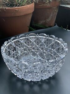 "Antique American Brilliant Period Cut Crystal Bowl. Thick And Heavily Cut. 9"" $85.00"