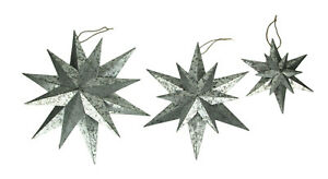 Rustic Galvanized Metal 12 Pointed Star Wall Sculptures Set of 3 $37.70
