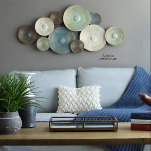Large Abstract Metal Wall Modern Rustic Discs Decor Contemporary Living Room $85.99