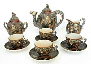 SUPERB ANTIQUE MEIJI SATSUMA DRAGONWARE COFFEE TEA SET PAINTED  GILT IMMORTALS