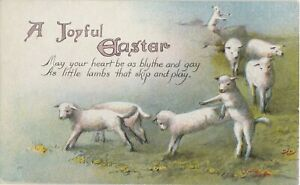 Postcard A Joyful Easter Sheep on Field Poem Unposted $3.75