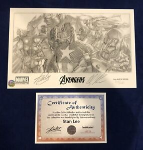 Avengers Parchment Paper Print Signed by Stan Lee w COA amp; Alex Ross ONLY 200 $295.95
