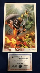 Wolverine Alex Ross Print Signed by Stan Lee w COA amp; Alex Ross MARVEL ONLY 200 $250.00