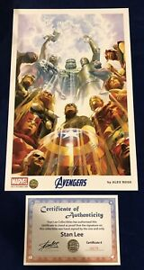 Avengers Alex Ross Print Signed by Stan Lee w COA amp; Alex Ross MARVEL ONLY 200 $250.00