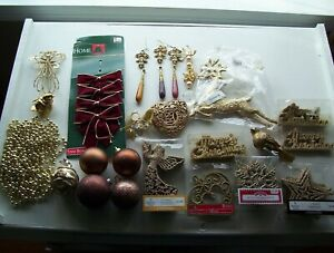 Big Lot of Gold Christmas Ornaments assorted shapes and styles Some clip on $13.88