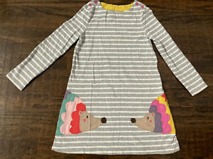 Kids Girls Mini Boden SweaterDress With Animal Quilt Size 7 8 Yrs Gray Striped $9.99