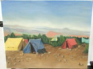 JUNE BALL quot;CAMPING IN WYOMINGquot; ORIGINAL OIL ON BOARD LANDSCAPE PAINTING 1971