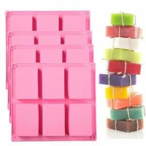 6 Cavity Rectangle Soap Mold Silicone Baking Mould Tray For Homemade Craft DIY $7.99