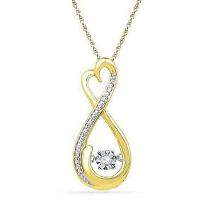 10K Yellow Gold Floating Diamond Pendant Infinity Heart .03ct