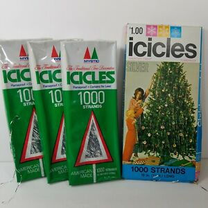 Vintage tinsel icicles Mystic lead free flameproof Marathon Franke lot of 4