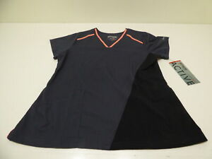 NEW Grey Anatomy Scrub Top Women#x27;s L Large Gray amp; Pink NWT