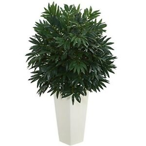 nearly natural artificial double bamboo palm plant in white tower vase green $119.00