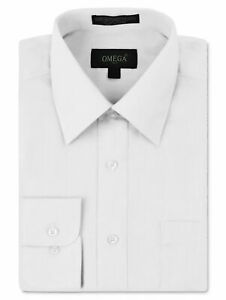 Omega Italy Men#x27;s Designer Long Sleeve Solid Regular Fit White Dress Shirt 3XL