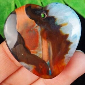 F17293 Brown Red Blue Onyx Druzy Geode Agate Heart Pendant Bead 37x36x7mm $4.14