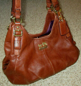 Coach Purse Madison Maggie 16503 Brown Leather Shoulder Bag Double Strap Pleated