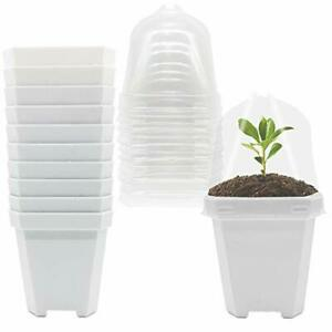 Small Plant Nursery Pots with Humidity DomePlastic Square Flower Small White $23.01