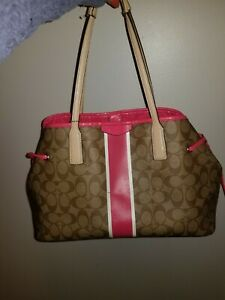 Pink And Beige Coach Purse With Coin Purse
