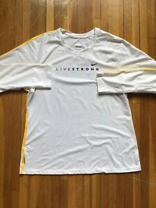 Sporty Nike XL Solid White Livestrong Long Sleeve Active Wear ShirtLogo Print $19.99