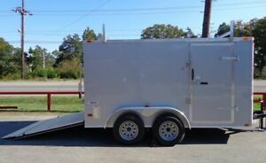 Enclosed Trailer 7#x27;x12#x27; Silver ATV Cargo Construction Hauler