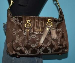 COACH Ashley Gathered Brown Dotted Op Art Leather Satchel Shoulder Purse 20015