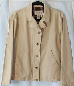Womens Carhartt Jacket Medium Tan Cotton Canvas with Red Flannel Lined