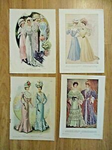 4 Original 1900 05 Victorian women#x27;s fashion prints The Delineator framable $19.99