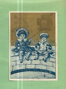 Cute CHILDREN FISHING On HOUSEHOLD SEWING MACHINES Victorian Trade Card