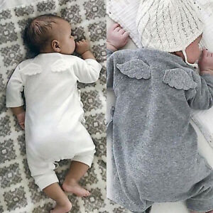 Cute Newborn Baby Girls Boys Cardigan Romper Wings Bodysuit Jumpsuit Clothes New $14.15