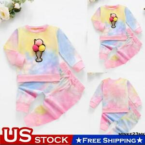 Newborn Baby Girls Tie Dye Ice Cream Long Sleeve Tops Pants Trouesrs Outfits $10.99