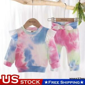 Newborn Toddler Baby Girls Tie Dye Long Sleeve Trousers Top Pant Clothes Outfits $10.99