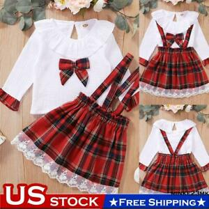 Toddler Kids Baby Girls Dress Clothes Plaids Shirt Tops Skirt Xmas Outfits Set $11.99
