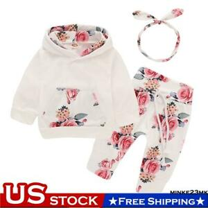 Newborn Kid Baby Girls Clothes Hooded Tops Pants Floral Outfits Set Tracksuit $9.99