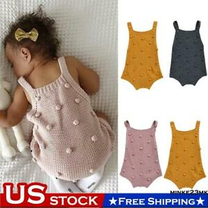 Toddler Baby Girls Clothes Knitted Camisole Romper Jumpsuit Bodysuit Outfits US $12.99