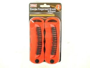 2 PC Double Sided Bristle Brushes Scrubbing Cleaning with Magnet for Tool Box