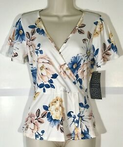 THIS amp; MORE Young Contemporary Women#x27;s Floral Wrap Drape Top X LARGE Ivory $14.99