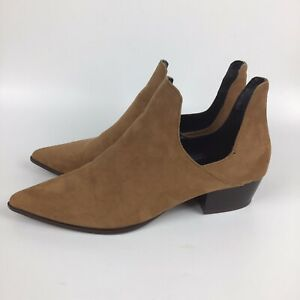 Zara Trafaluc Tan Faux Suede Ankle Cut Out Side Boots booties Size 40 US 9