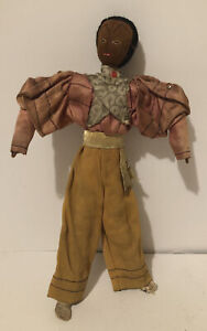Antique Thread Wrapped Wire Black Male Doll Fancy Clothes $14.99