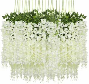 12 PACK Artificial Wisteria Hanging Garland Flowers 3.6 Ft Home Wedding Decor US