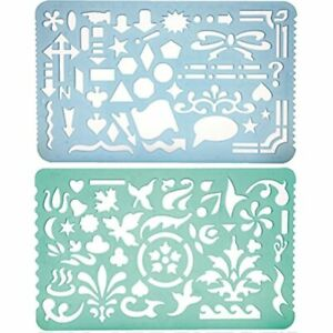 Set Of 2 Plastic Stencil Art Templates Drafting Ruler With Various Cut Out For $13.50