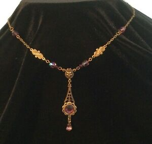 Vintage Victorian Style Amethyst Crystal Necklace Antiqued Gold Brass Handmade $19.99