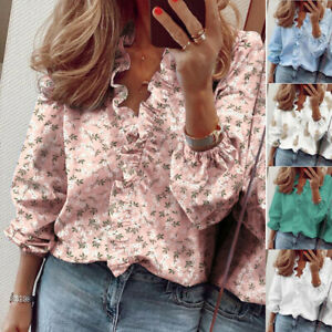 Women Long Sleeve Casual T Shirt Ruffle V Neck Plus Tops Loose Blouse Floral $14.87