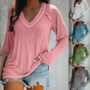 Womens Long Sleeve V Neck T Shirt Casual Solid Pullover Blouse Loose Basic Tops $13.68