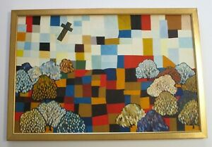 VINTAGE PAINTING ABSTRACT CUBISM EXPRESSIONISM LARGE MYSTERY ARTIST 1970#x27;S POP $560.00