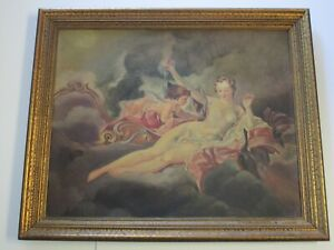 ANTIQUE ART DECO VICTORIAN ERA NUDE PAINTING ICONIC ANGEL 19TH TO 20TH CENTURY $960.00